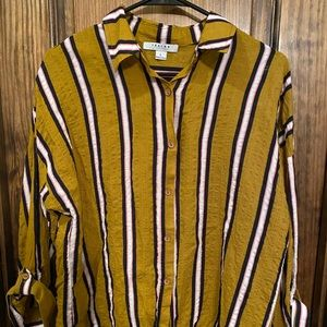 Favlux striped collared button up shirt